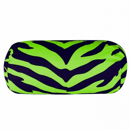 Black & Lime Green Zebra Neckroll Pillow
