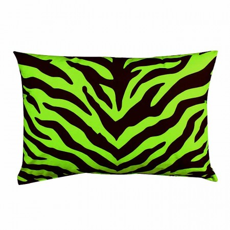 Black & Lime Green Zebra Oblong Accent Pillow
