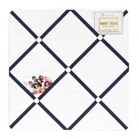 Hotel White & Navy Blue Fabric Memo Board