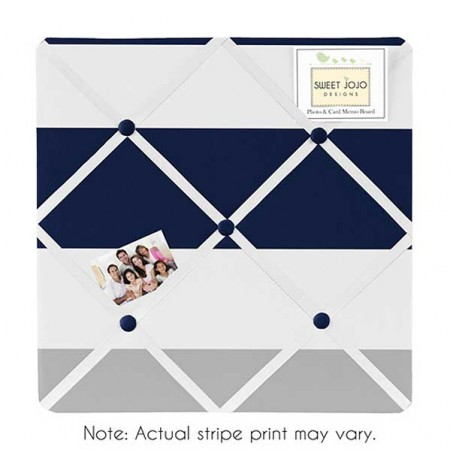 Navy & Gray Stripe Fabric Memo Board