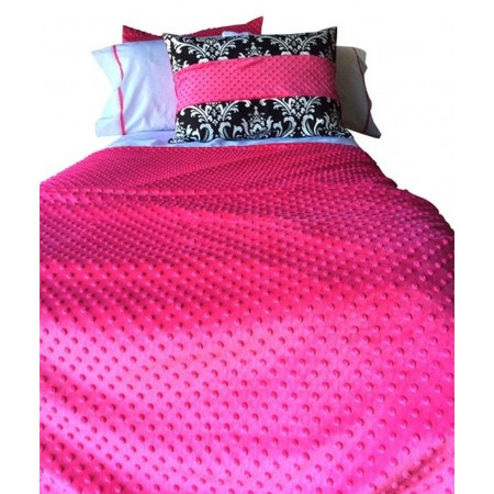 Hot Pink Minky Bunk Topper 4 Corner Hugger Comforters by California Kids