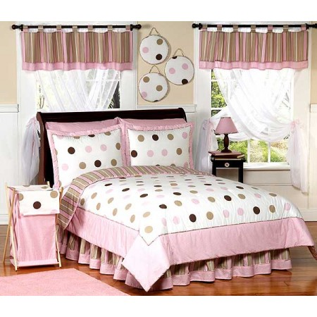 Pink and Brown Mod Dots Bedding Set - 4 Piece Twin Size By Sweet Jojo Designs*