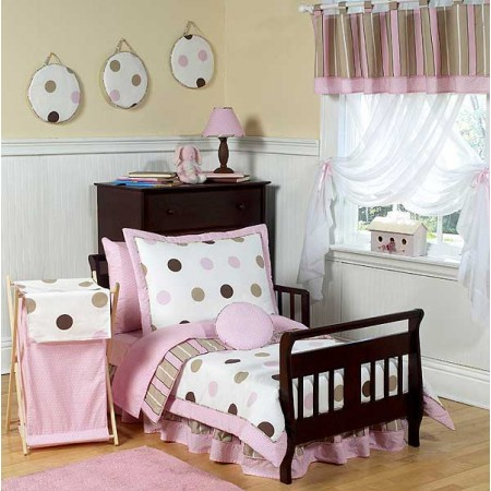 Pink and Brown Mod Dots Toddler Bedding Set By Sweet Jojo Designs