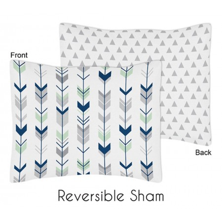 Mod Arrow Gray, Navy & Mint Pillow Sham