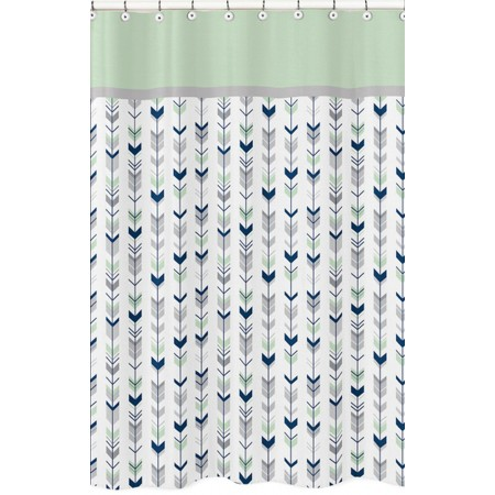 Mod Arrow Gray, Navy & Mint Shower Curtain