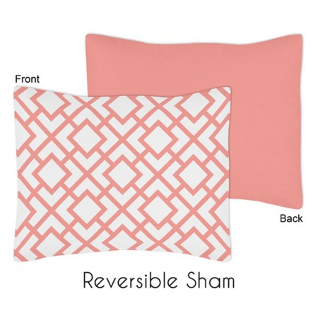 Mod Diamond White & Coral Pillow Sham