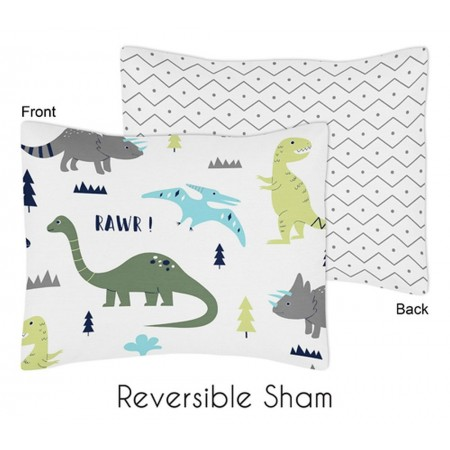 Mod Dinosaur Blue & Green Pillow Sham