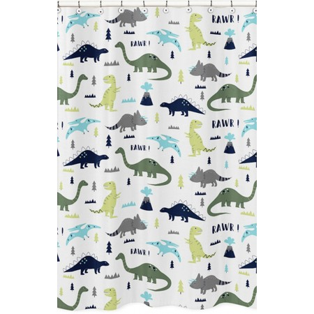 Mod Dinosaur Blue & Green Shower Curtain
