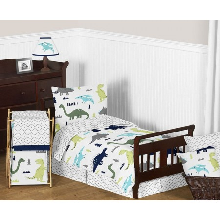 Mod Dinosaur Blue & Green Toddler Bedding Set By Sweet Jojo Designs