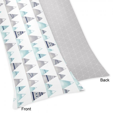 Mountains Grey & Aqua Body Pillow Cover