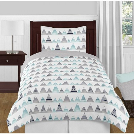 Mountains Grey & Aqua Bedding Set - 4 Piece Twin Size By Sweet Jojo Designs