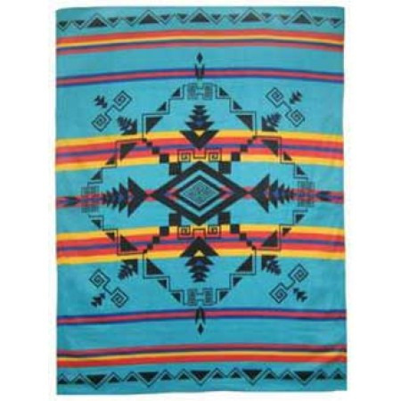 God's Eye Polar Fleece Throw Blanket - Turquoise