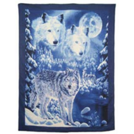 Wolf In Snow Polar Fleece Throw Blanket