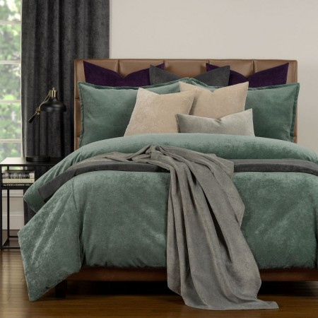Duvet Cover Set from the Mixology Collection - King Size - Lagoon Green