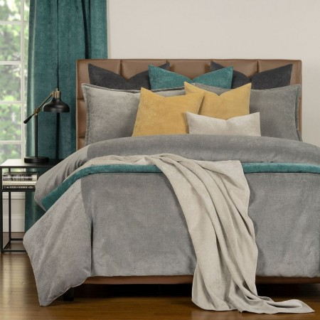 Duvet Cover Set from the Mixology Collection - Queen Size - Smoke