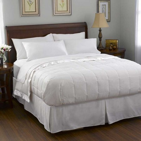 Pacific Coast Satin Trim Down Blanket - White - Full Size