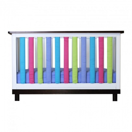 Wonder Bumper Vertical Crib Liners - Periwinkle, Lime, Fuschia & Turquoise - 38 Pack