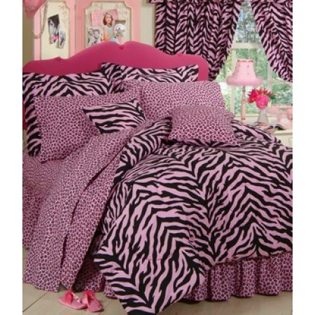Pink Zebra Print Comforter and Pillow Sham - Queen Size