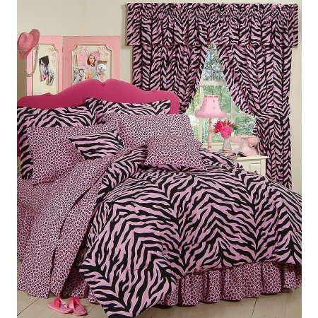 Black & Pink Zebra Print Dorm Room Bedding - Extra Long Twin Size Bed in a Bag Set