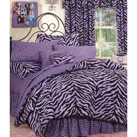 Black & Purple Zebra Bed in a Bag Set