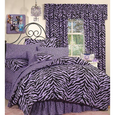 Purple Zebra Print Comforter and Pillow Sham - Queen Size