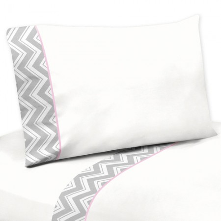 Zig Zag Pink & Gray Chevron Print Queen Size Sheet Set