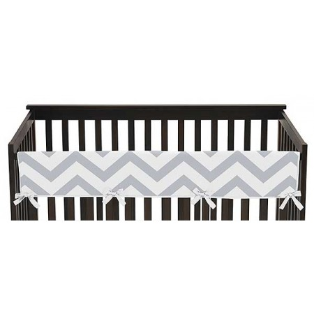 Chevron Gray & White Collection Long Rail Guard Cover