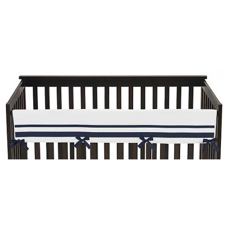 Hotel White & Navy Blue Collection Long Rail Guard Cover