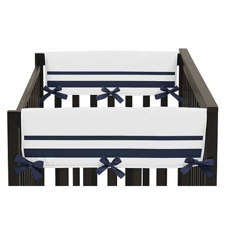 Hotel White & Navy Blue Collection Side Rail Guard Covers - Set of 2