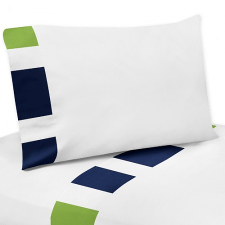 Navy & Lime Stripe Queen Size Sheet Set
