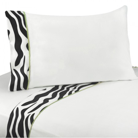 Lime Green Zebra Twin Size Sheet Set