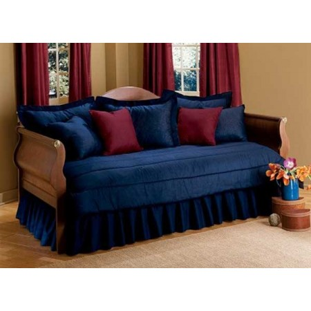200 Thread Count Daybed Set - 5 Piece Combo Set (Ruffled Bedskirt/Tailored Shams) - Medium Blue