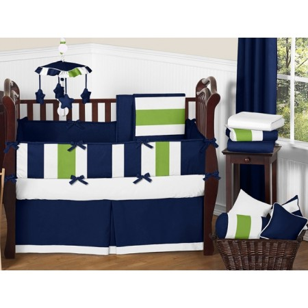 Navy & Lime Stripe 11 Piece Bumperless Crib Set by Sweet Jojo Design