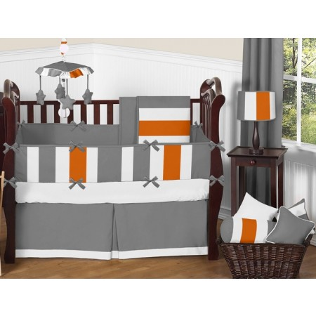 Gray & Orange Stripe 11 Piece Bumperless Crib Set by Sweet Jojo Design