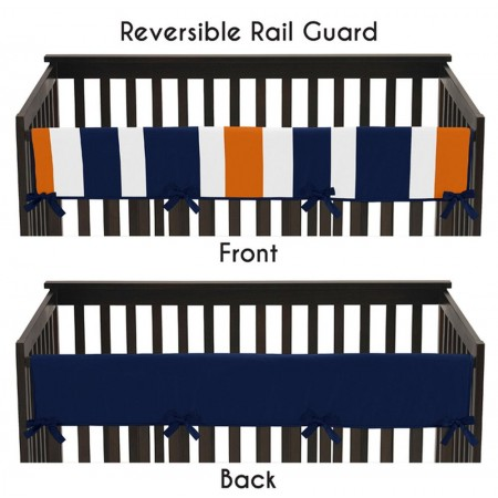 Navy & Orange Stripe Collection Long Rail Guard Cover