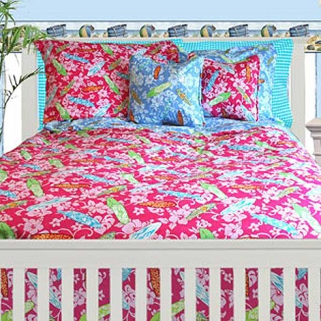 Surfer Girl Duvet Cover by California Kids - Pink Print reverses to Solid Aqua - Twin Size