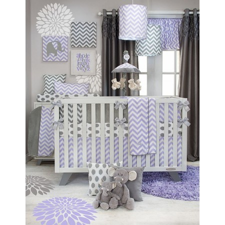 Swizzle Purple 3 Piece Crib Bedding from Sweet Potato