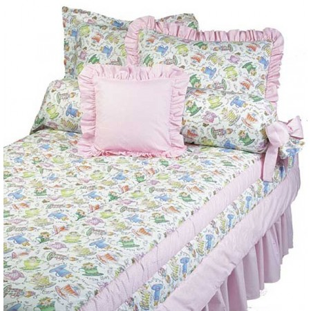 Tea Party Bunkbed Topper 4 Corner Hugger Comforters by California Kids
