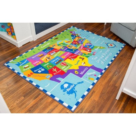 USA Map Olive Kids Play Rug