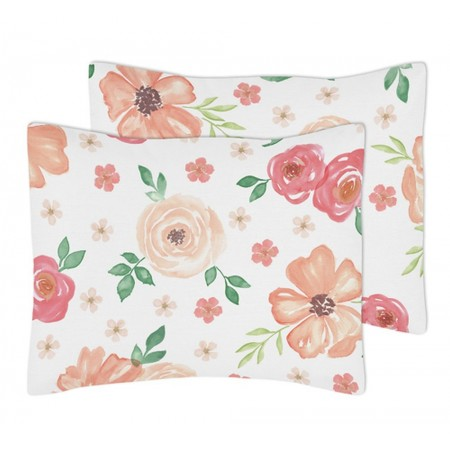 Watercolor Floral Peach and Green Pillow Sham