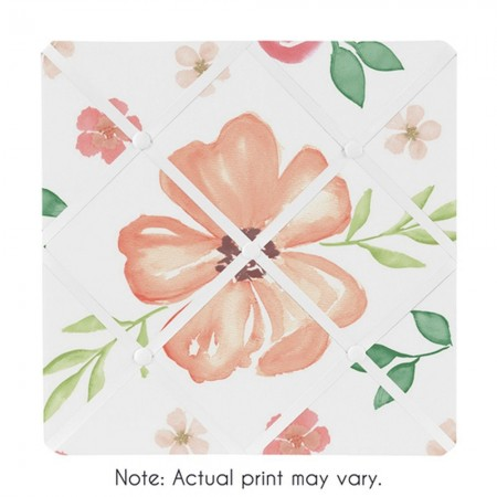 Watercolor Floral Peach and Green Fabric Memo Board
