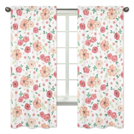 Watercolor Floral Peach and Green Window Panels