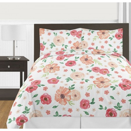 Watercolor Floral Peach and Green Comforter Set - 3 Piece Full/Queen Size By Sweet Jojo Designs