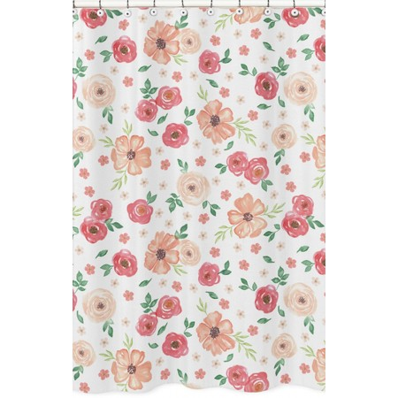 Watercolor Floral Peach and Green Shower Curtain