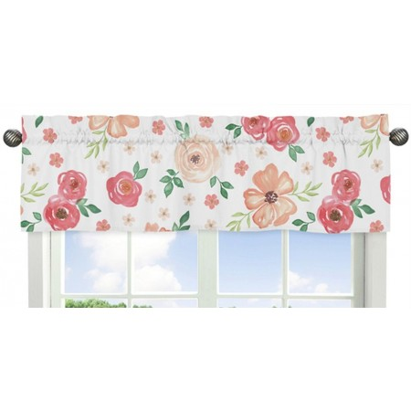 Watercolor Floral Peach and Green Valance