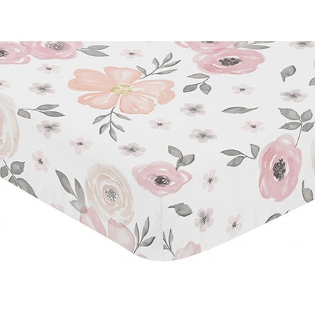 Watercolor Floral Pink and Gray Crib Sheet