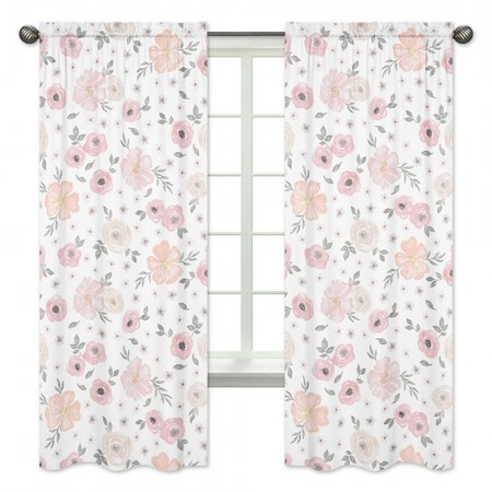 Watercolor Floral Pink and Gray Window Panels