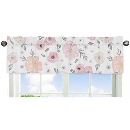 Watercolor Floral Pink and Gray Valance
