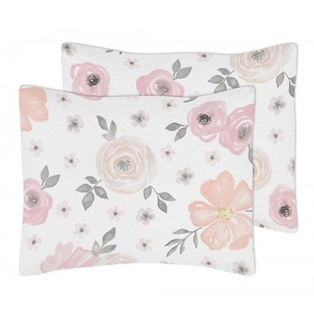 Watercolor Floral Pink and Gray Pillow Sham