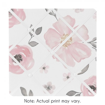 Watercolor Floral Pink and Gray Fabric Memo Board